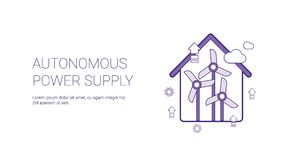 Autonomous Power Supply Template Web Banner With Copy Space. Vector Illustration Stock Photos