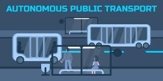 Autonomous public transport. Autonomous public electric transport or minibus stops at city bus stop Stock Photography