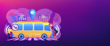 Autonomous public transport concept banner header. Passengers like and approve autonomos robotic driverless bus. Autonomous public transport, self-driving bus vector illustration
