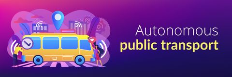 Autonomous public transport concept banner header. Passengers like and approve autonomos robotic driverless bus. Autonomous public transport, self-driving bus stock illustration