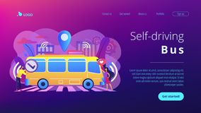 Autonomous public transport concept landing page. Passengers like and approve autonomos robotic driverless bus. Autonomous public transport, self-driving bus vector illustration