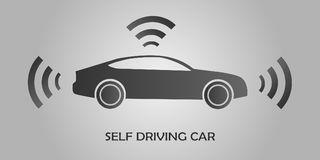 Autonomous self-driving Automobile sensors Smart Car Driverless vehicle Vector illustration Royalty Free Stock Photo