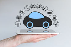 Autonomous self-driving driverless car connected to mobile device Stock Photo