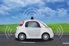 Autonomous self-driving driverless vehicle with radar driving on the road Royalty Free Stock Image
