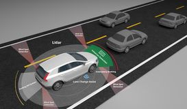 Autonomous self-driving electric car showing Lidar and Safety sensors, 3d rendering. Autonomous self-driving electric car showing Lidar and Safety sensors use stock illustration