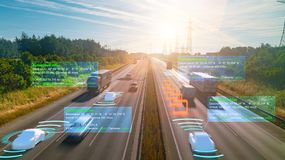 Free Autonomous Self-driving Mode Vehicle On Highway Road Iot Concept With Graphic Sensor Radar Signal System Stock Photos - 154224863