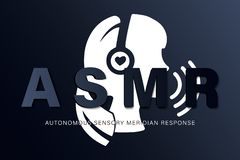 Autonomous sensory meridian response, ASMR logo or icon. Female head profile with heart shaped headphones, enjoying. Sounds, whisper or music royalty free illustration