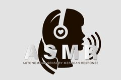 Autonomous sensory meridian response, ASMR logo or icon. Female head profile with heart shaped headphones, enjoying. Sounds, whisper or music stock illustration