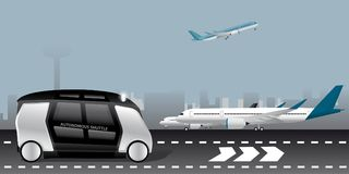 Autonomous shuttle at the airport Royalty Free Stock Image