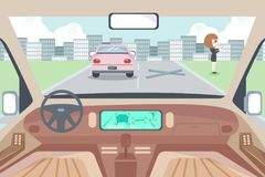 Autonomous smart car interior. The display shows information about the vehicle is moving royalty free illustration