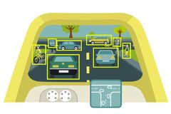 Autonomous smart car interior poster. Vector illustration. Self-driving display shows information about the vehicle is moving GPS travel time scan distance vector illustration