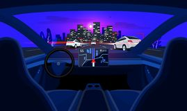 Autonomous Smart Driverless Car Interior Self Driving in Night City Highway Traffic and Skyline. Autonomous autopilot smart driverless electric car self-driving royalty free illustration