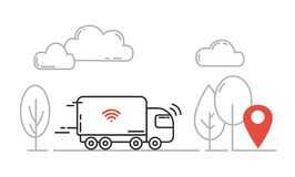 Autonomous transport - self driving truck moving by highway. Vector line illustration.  vector illustration