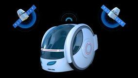 Autonomous transportation pod, electric self-driving vehicle with two satellites on black background, futuristic car, 3D render stock illustration