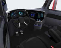 Autonomous truck interior with black seats and touch screen instrument panel Stock Illustration