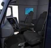 Autonomous truck interior with black seats and wall mounted monitor Vector Illustration