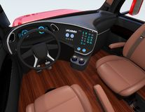 Autonomous truck interior with brown seats and flooring Royalty Free Illustration