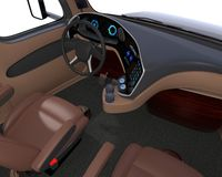 Autonomous truck interior with brown seats and touch screen instrument panel Vector Illustration