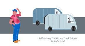 Autonomous truck vs truck driver vector concept. Self-driving autonomous truck drived by robot, truck driver job future problems vector concept royalty free illustration