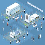 Autonomous Trucks Exhibition Composition vector illustration
