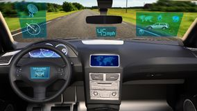 Autonomous vehicle, driverless SUV car with infographic data driving on the road, inside view, 3D render. Ing royalty free stock images
