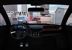 Autonomous vehicle interior. Head up display shows traffic information. 3D rendering image Stock Photo