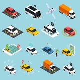 Autonomous Vehicle Isometric Icons Set. Of driverless robotic car bus train truck taxi controlled by satellite navigation vector illustration vector illustration