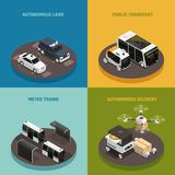 Autonomous Vehicles Isometric Design Concept. Driverless cars, public transport, metro trains, robotic delivery systems isolated vector illustration vector illustration