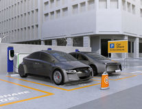 Autonomous vehicles in parking lot for sharing. Car sharing business concept. 3D rendering image vector illustration