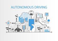 Autonomt körande begrepp med handen som rymmer den fria smartphonen för modern skyddsram royaltyfri illustrationer