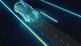 Autonomt medel, automatisk körande teknologi Den obemannade bilen, IOT förbinder bilen Isolerat framför på en svart bakgrund