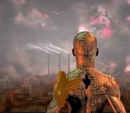 Autonomy. Tech Man stands before smoky city Stock Photos