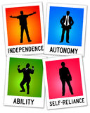 Autonomy. Polaroids concerning autonomy, independence and self-reliance Royalty Free Stock Photos