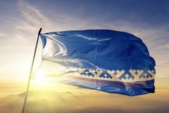 Autonoom District yamal-Nenets van stof die van de de vlag de textieldoek van Rusland op de bovenkant golven stock illustratie