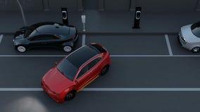 Autonoom SUV is parallel parkeren in parkeerterrein bij kant van de weg stock footage