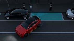 Autonoom SUV is parallel parkeren in parkeerterrein bij kant van de weg met grafische elementen stock video
