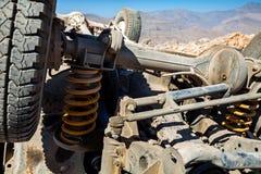 Autoongeval in de bergen van de V.A.E Stock Foto's