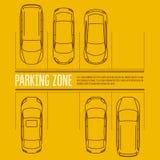 Autoparkeerterrein - hoogste mening van auto's in parkstreek Stock Foto