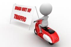 Autoped met weg uit verkeer Stock Afbeeldingen