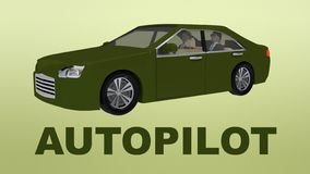 AUTOPILOT title under an autonomous car with two passengers. 3D illustration of AUTOPILOT title under an autonomous car with two passengers vector illustration