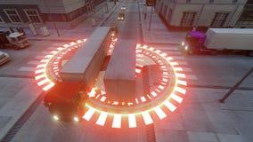 Autopilot truck gps Artificial intelligence concept.