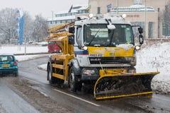 Autopista británica M1 durante tormenta de la nieve foto de archivo