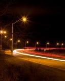 Autopista sin peaje de la noche Fotos de archivo libres de regalías