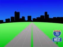 Autopista sin peaje a Denver ilustración del vector