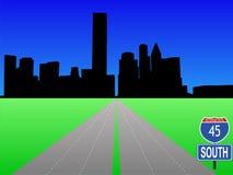 Autopista sin peaje que lleva a Houston ilustración del vector