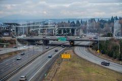 Autopista sin peaje y estación Imagen de archivo