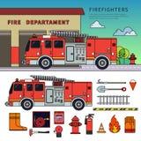 Autopompa antincendio che sta sulla via Fotografia Stock Libera da Diritti