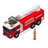 Autopompa antincendio e pompiere Isometric View Vettore Immagini Stock Libere da Diritti
