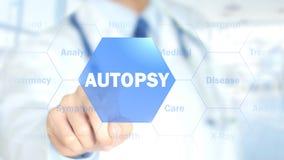 Autopsie, Doktor, der an ganz eigenhändig geschrieber Schnittstelle, Bewegungs-Grafiken arbeitet Stockbilder