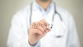 Free Autopsy , Doctor Writing On Transparent Screen Royalty Free Stock Images - 99388819